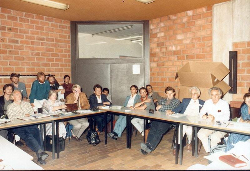 Yoland Bresson lors de la création du BIEN à Louvain-la-Neuve (1986)